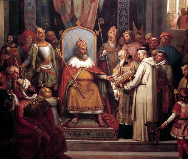 Charlemagne surrounded by his chief officers, received Alcuin, who introduced manuscripts, a work of his monks in 781. Detail of the painting by Jules Laure (1806-1861). 1837. Sun 0,67x1,07m Versailles, chateaux of Versailles et de Trianon - Charlemagne surrounded by his principal officers welcomes Alcuin who shows him manuscripts, work of his monks in 781. Detail of the. Painting by Jules Laure (1806-1861). 1837. 0.67 x1, 07m Castles of Versailles and Trianon, Versailles, France