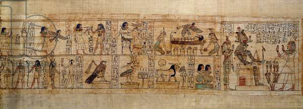 """Ancient Egyptian Art Mythological Papyrus of Serimen. Top: Serimen loves the god Osiris represented by its emblem in the city of Abydos. The soul of the dead in the form of a bird flies over his mummy watched by the goddesses Isis (left) and Nephtys (right). Under the bed, the four vases with the head covers of the """"4 sons of Horus"""""""". Below: vignettes of 2 Chap. from the book of the dead. Serimen in worship before the god Ptah-Sokar-Osiris followed by the goddess Isis. On the lily flower, the """"4 sons of Horus"""". Manuscript of the 21st dynasty (ca. 1069-945), third intermediate period (ca. 1069-664 BC). Painting."""