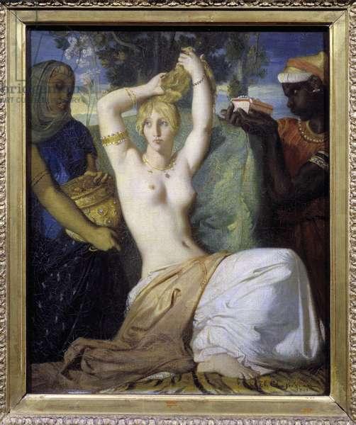 "La toilette d'Esther or """" Esther parant pour etre presentee au king de Persia Assuerus 1er (Xerxes 1er)"" Painting by Theodore Chasseriau (1819-1856) 1841 Dim. 0,45 x 0,35 m  - Esther's toilette or Esther adorning herself to be presented to the Persian king, Ahasuerus (or Assuerus) 1st, Xerxes 1st). Painting by Theodore Chasseriau (1819-1856), 1841. 0.45 x 0.35 m. Louvre Museum, Paris"