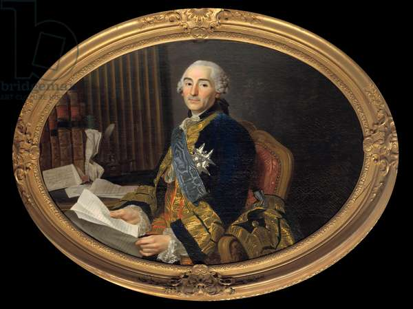 Portrait of Cesar Gabriel (1712-1785) Count of Choiseul - Chevigny, Duke of Praslin, Minister of Foreign Affairs then of the Navy. Painting by Alexander Roslin (1718-1793). Dim. 0,94 x 1,31 m. Versailles, musee du Chateau. - Portrait of Cesar Gabriel (1712-1785) Count of Choiseul - Chevigny, Duke of Praslin, Minister of Foreign Affairs then of the Navy. Painting By Alexandre Roslin (1718-1793). 0.94 x 1.31 m.
