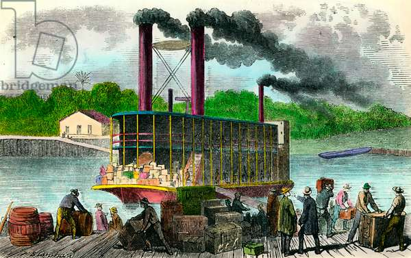 Slaves unbarking goods from steamboats Engraving of the 19th century. Private collection