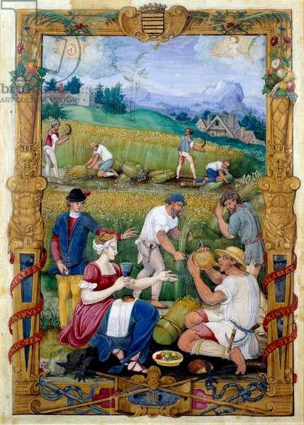 """August. Champetre picnic and harvest. Miniature taken from """""""" Livre d'heures de Claude Gouffier"""""""" Vers 1550 Ecouen, musee national de la renaissance"""