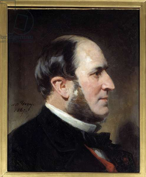 Portrait of Baron Eugene-Georges Haussmann, Prefet of Paris (1809-1891) He was at the origin of the major renovation works of the city of Paris under the Second Empire. Painting by Adolphe Yvon (1817-1893). 1867 Sun. 0,45 x 0,35 m Paris, Musee Carnavalet