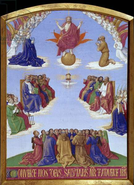 """Pentecote: the ascension of the Holy Spirit. Miniature taken from """""""" The Book of Hours of Etienne Chevalier"""""""" by Jean Fouquet (1420-1477/1481), 15th century. Chantilly, Conde Museum"""