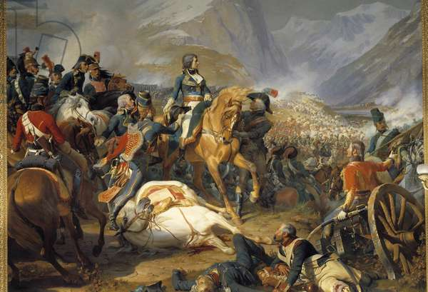 The Battle of Rivoli on January 14, 1797: Bonaparte changes horse Painting by Henri Felix Philippoteaux (1815-1884). 1844. Dim. 4,65 x 5,43 m.  - Bonaparte at the Battle of Rivoli, 14th January 1797. Painting by Henri Felix Philippoteaux (1815-1884). 1844. 4.65 x 5.43 m. Versailles, Castles of Versailles and Trianon