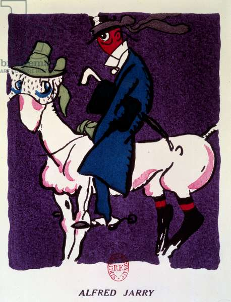 """Representation of Alfred Jarry (1873-1907) on horseback Drawing by Gus Bofa (1883-1968) from """"Recueuil de dessin: syntheses litteraire et extra litteraire"""" 1923 Paris, B.N"""