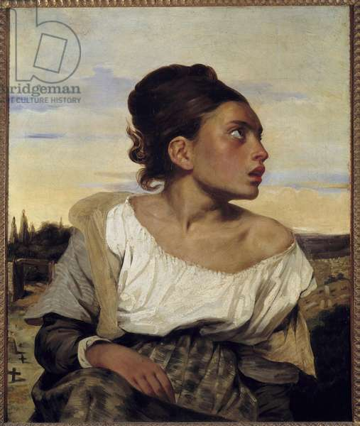 Young orphan at the cemetery Painting by Eugene Delacroix (1798-1863) 1824 Sun. 0,65x0,54 m