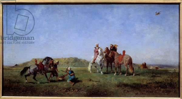 Falcon hunting in Algeria Painting by Eugene Fromentin (1820-1876) 19th century Sun. 0,45x0,85 m