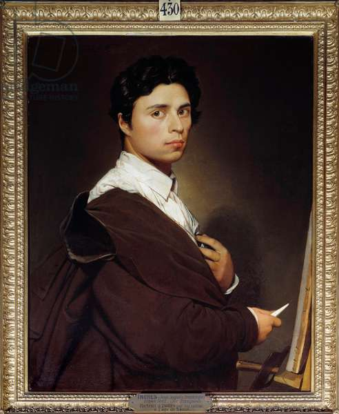 Self-Portrait a 24 Years Painting by Jean Auguste Dominique Ingres (1780-1867) 1804 Sun. 0,77x0,61 m Chantilly, musee Conde - Self-portrait at age 24. Painting by Jean Auguste Dominique Ingres (1780-1867) 1804. 0.77 x 0.61 m. Conde Museum, Chantilly, France