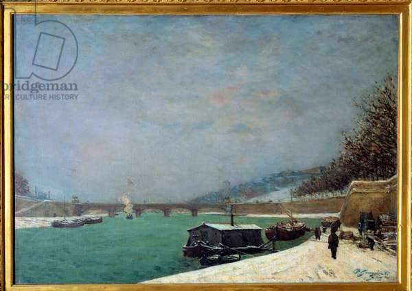 The Seine at the Pont d'Iena, snow weather: view of Paris under the snow. Painting by Paul Gauguin (1848-1903), 1875. Oil on canvas. Dim: 0.65 x 0.92m. Paris, Musee D'Orsay