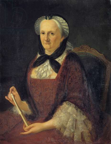 Portrait of Madame Geoffrin, nee Marie Therese (Marie-Therese) Rodet (1699-1777) Painting by Amelie Cordelier de la Noue (known from 1831 to 1844) 19th century Sun 0,82 x 0,63 m