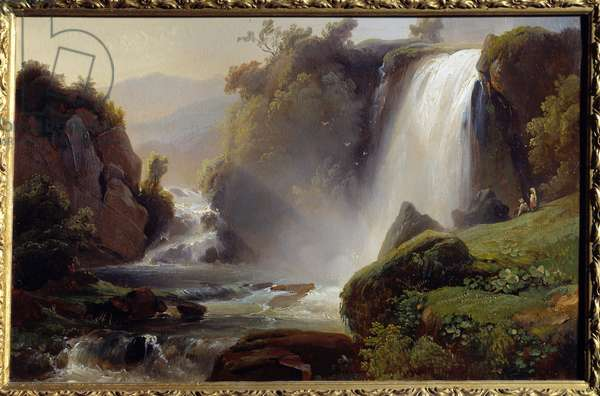 Cascades a Tivoli Painting by Jean Charles Remond (1795-1875) 1840. Sun 0,34x0,22 m Rouen, musee des Beaux Arts