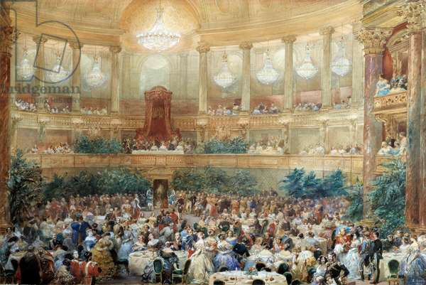 Dinner offered by Napoleon III to Queen Victoria in the room of the Opera de Versailles on August 25, 1855. Watercolour by Eugene Louis Lami (1800-1890) 1855 Compiegne, Musee national du chateau