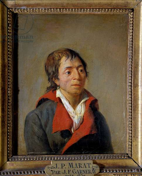 """Portrait of Jean-Paul Marat (1743-1793), doctor, founder of L'Ami du Peuple"""", depute of Paris at the Convention"""" Painting by Jean Francois Garneray (1755-1837) 18th century."""