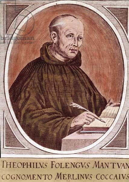 "Portrait of Girolamo (or Teofilo or Theophile) Folengo (1491-1544) Italian burlesque poet known as Merlin Cocai (Coccai), creator of the macaronic genre"""" Engraving. Private Collection"