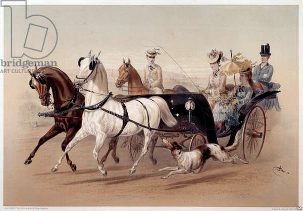 A Victoria Car and the horses of Tarbes Print by Albert Adam (1833-?) 19th century Paris, Musee Carnavalet