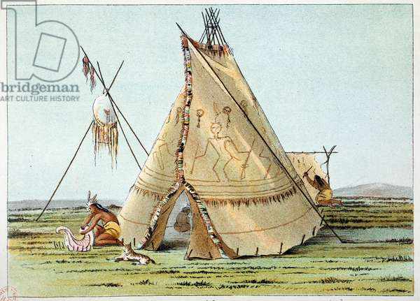 Indians of America: Tipi of the Crows tribe topped with piquings of porcuepics. Illustration by George Catlin (1794-1872), 19th century. Paris, B N