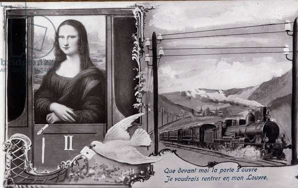 "Detournee representation of """" The Mona Lisa"""" (Mona Lisa, Monna Lisa) by Leonard de Vinci (Leonardo da Vinci) (1452-1519):"""" The painting is represented on a train, wishing to find its museum. Comedy postcard edited at the time of the theft of the work by Vincenzo Peruggia (1881-1925) which took place on 21/08/1911 Private collection."