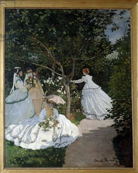 Women in the Garden a City of Avray Group of young women in a flower garden. Painting by Claude Monet (1840-1926). 1867. Dim. 2,55 x 2,05 m. Paris, Musee d'Orsay