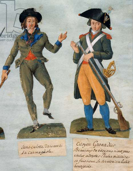 French Revolution, 1789: Without panties dancing carmagnola; and Grenadier citizen having retained his bourgeois habit. Gouache des Freres Lesueur (18th century), 18th century. Musee Carnavalet, Paris