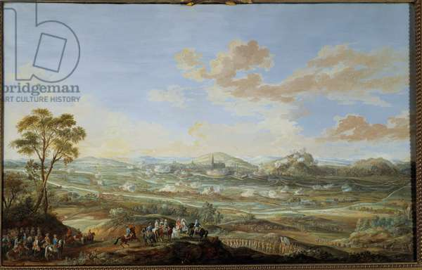 "War of the Succession of Austria (1741-1748): """" Siege of Fribourg in Brisgau from 30 September to 1 November 1744 by Louis XV and the marechal of Coigny"""""" Gouache by Louis Nicolas Van Blarenberghe (1716-1794) 1781 Sun. 0,59x0,94 m Versailles, museum of the castle"