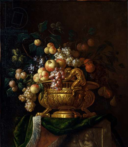 Still life with vase and grenades. Painting by Paul Pillement 17th century. Rouen, Musee des Beaux Arts.