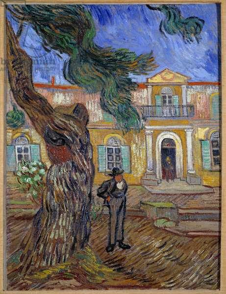 Saint Paul Hospital in Saint Remy de Provence (Saint-Remy-de-Provence). Painting by Vincent van Gogh (1853-1890) 1889 Sun. 0,63x0,48m. Paris, musee d'Orsay - Hospital Saint Paul at Saint Remy de Provence (Saint-Remy-de-Provence) also called Saint-Paul Asylum. Painting by Vincent van Gogh (1853-1890), 1889. 0.63 x 0.48m. Orsay Museum, Paris