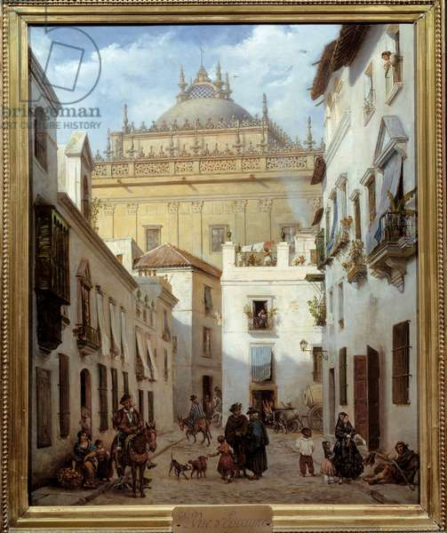 View of Seville. Painting by Julien Leopold Boilly (1796-1874), 18th century. oil on canvas. Meaux, Musee Bossuet - View of Seville (Spain). Painting by Julien Leopold Boilly (1796-1874), 18th century. Oil on canvas. Bossuet Museum, Meaux, France