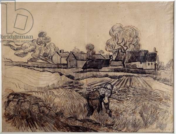 Father Elpoi's Farm Drawing by Vincent Van Gogh (1853-1890) (Ec. Hol) 1890 Dim. 0,48 x 0,61 m Paris. Orsay Museum