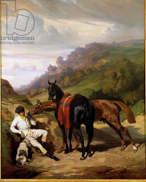 White lad and his horses Painting by Alfred De Dreux (1810-1860). 19th century. Private collection