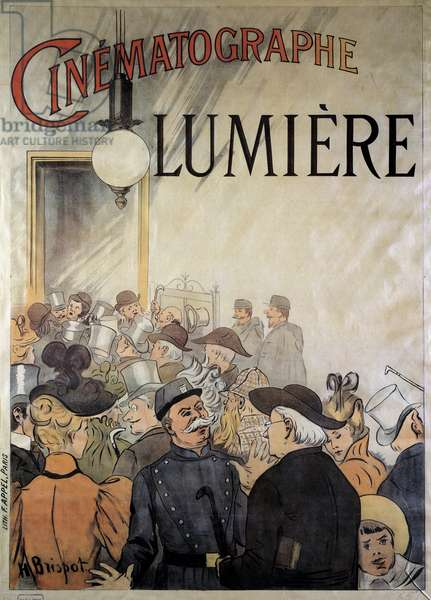 Poster for the cinematographer of the brothers Lumiere at the grand cafe in December 1895 (illustration)