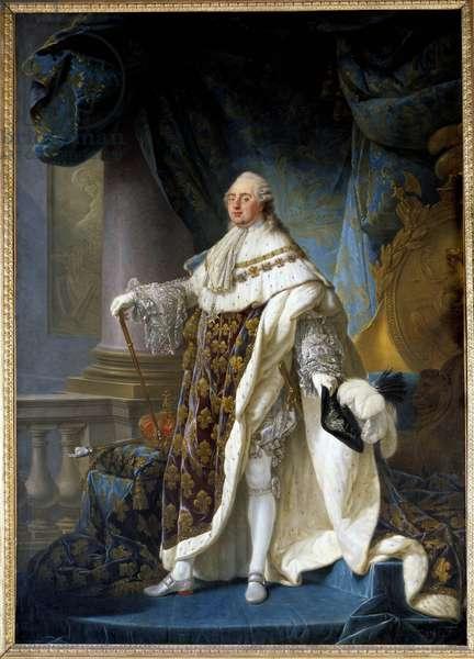 Portrait en pied du roi de France Louis XVI (1754-1793), wearing the great royal costume in 1779 Painting by Antoine Francois (Antoine-Francois) Callet (1741-1823) 1779 Dim. 2,7x1,89 m -  - Portrait of the king of France Louis XVI (1754-1793) in his coronation robes - Painting by Antoine Francois Callet (1741-1823), oil on canvas (270 x 189 cm), 1779 - Musee du chateau, Versailles, France