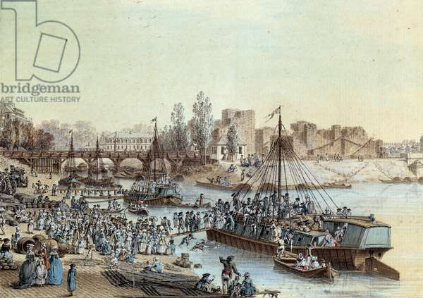 Shipping Ship loaded passengers arriving at the dock. Drawing by Louis de Lespinasse (1734-1808) 1782. Paris, Musee Carnavalet