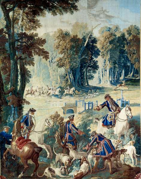 Hunting of Louis XV. Tapestry by Jean Baptiste Oudry (1686 - 1755), 1741. Compiegne, Musee National Du Chateau