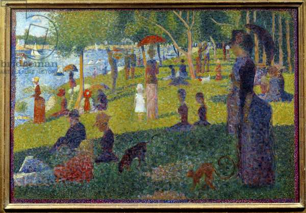 Study for a Sunday at the Grande Jatte Painting by Georges Seurat (1859-1891) 1885 Sun. 0,7x1,04 m New York, Metropolitan museum - Study for a Sunday on La Grande Jatte. Painting by Georges Seurat (1859-1891), 1885. 0.7 x 1.04 m. Metropolitan Museum of Art, New York