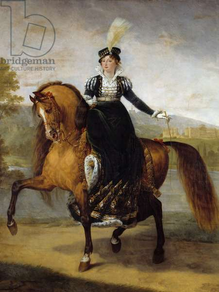 Equestrian portrait of Catherine of Württemberg, wife of Jerome Bonaparte, Queen of Wesphalia (1783-1835). Painting by Antoine Jean Gros (1771-1835), 19th century. Oil on canvas. Dim: 3,22 x 2,60m.