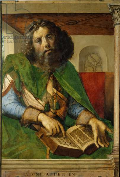 Portrait of Plato (428-348 BC), philosopher of ancient Greece. (h s/wood 1.01 x 0.69) painting by Berruguete Pedro (1450-1504).