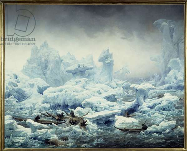 View of the icy ocean, walrus fishing by the Greenlanders Painting by Francois Auguste Biard (1799-1882) 1841 Sun. 1,3x1,63 m Dieppe, musee du chateau - Fishing for Walrus in the Arctic Ocean. View of the Polar Sea, Greenlanders hunting walrus. Painting by Francois Auguste Biard (1799-1882), 1841. 1.3 x 1.63 m. Castle Museum, Dieppe, France