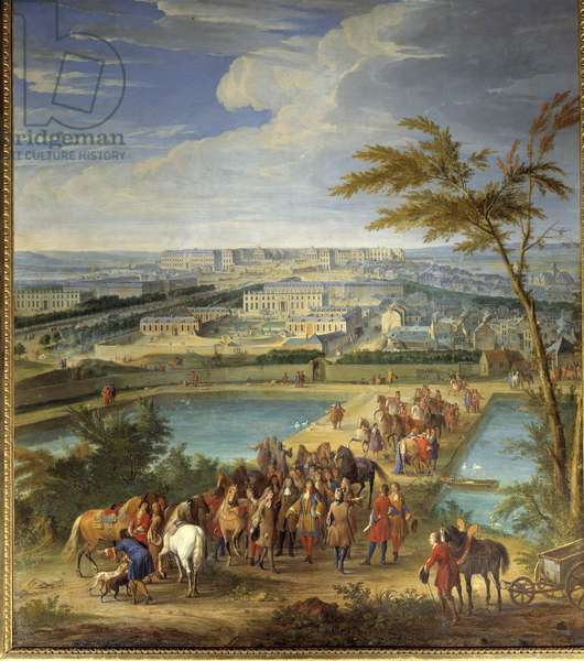 View of the city and the castle of Versailles taken from the hill of montbauron, Louis XIV (1638-1715) and Francois Michel le Tellier, Marquis de Louvois visit the new reservoirs Painting by Jean-Baptiste Martin (the Elder) (1659-1735) 17th century Sun. 2,6x1,8 m.