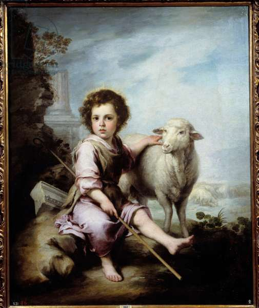 The Good Pastor Painting by Bartolome Murillo (1618-1682) 17th century Sun. 1,23x1,01 m Madrid, Prado Museum - The Good Shepherd. Painting by Bartolome Murillo (1618-1682) 17th century. 1.23 x 1.01 m. Prado Museum, Madrid