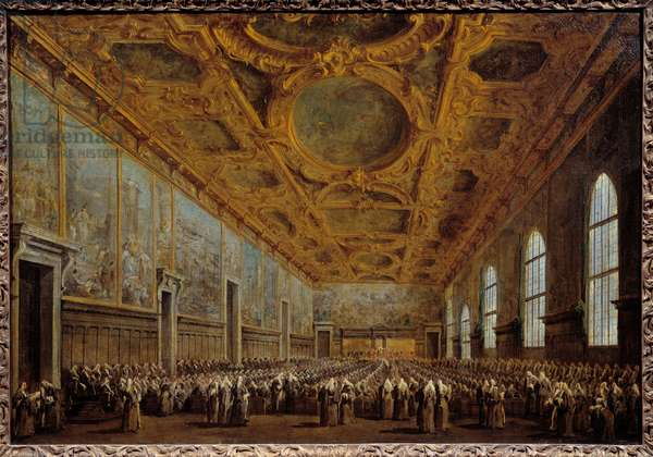 The Doge of Venice thanks the Major Council. The scene takes place at the Doge's Palace in San Marco Square in Venice. Painting by Francesco Guardi (1712-1793), 1763. Paris, Musee Du Louvre - The Doge of Venice thanks the Great Council. The scene takes place at the Doges Palace of San Marco square in Venice. Painting by Francesco Guardi (1712-1793), 1763. Louvre Museum, Paris