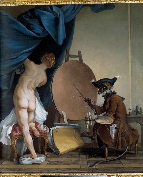 The Monker Painter. Oil on canvas, 0.89 x 0.62 m. - The painter monkey. Painting by Jean Baptiste Deshays (1729 - 1765), 18th century. Oil on canvas. Dim: 0,89 x 0,62m. Rouen, Museum of Fine Arts