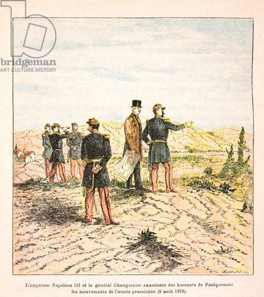 French and Germans, anecdotal history of the War of 1870-1871, 1888, illustration by Georges Hardouin (1846-1893) also says Dick de Lonlay: Emperor Napoleon III and General Changarnier examine the movements of the Prussian army on August 9, 1870 - private collection