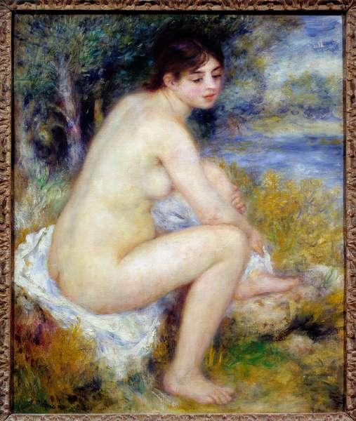 Woman Nude in a Landscape Painting by Pierre Auguste Renoir (1841-1919) 1883 Sun. 0,65 x 0,54 m Paris, Musee de l'Orangerie
