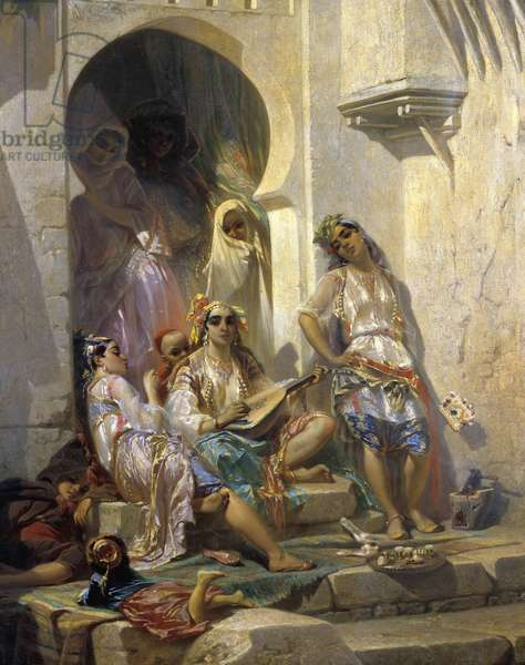 """Orientalism: """""""" Women of Algiers"""""""" Painting by Eugene Giraud (1806-1881) 19th century. Tours, Museum of Fine Arts"""