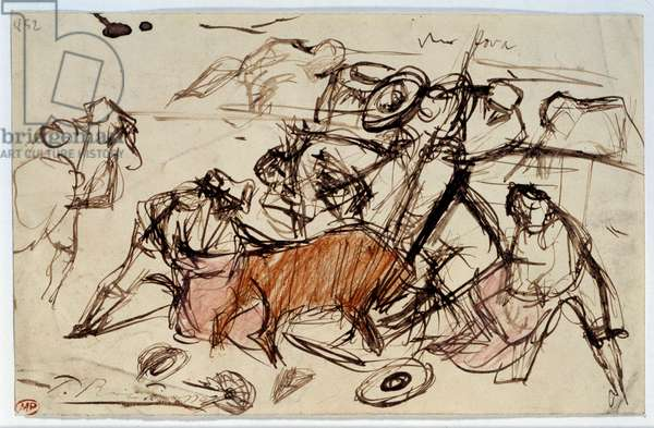 Corrida scene. Drawing by Pablo Picasso (1881-1973), 1897. Feather brown ink and colored pencils. Dim: 0,13 x 0,21m. Paris, Musee Picasso.