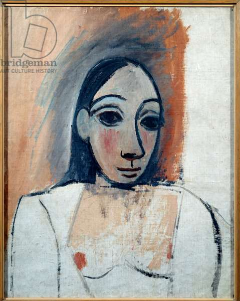 Female bust. Study for the ladies of Avignon. oil on canvas. Dim: 0.58 x 0.46m. Painting by Pablo Picasso (1881-1973), 1907. Paris, Musee Picasso.