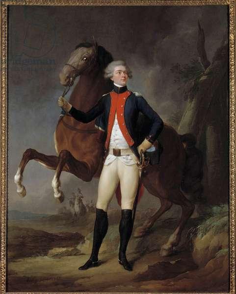 Portrait of Marie Gilbert Mottier, Marquis de La Fayette, (Lafayette) in uniform as captain of the regiment of Noailles (1797-1834) Painting by Louis Leopold Boilly (1761-1845) 1788 Sun. 0,9x0,7 m