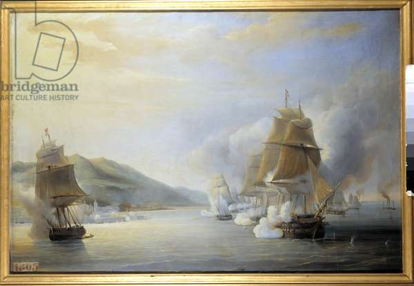 """Conquete de l'Algerie (1830-1847): """""""" Attack of Algiers by sea, by the French fleet under the command of Admiral Duperre, the 3/07/1830"""""""" Painting by Antoine Leon Morel-Fatio (Morel Fatio) (1810-1871). 1837 approx. Sun 0,74x1,09 m."""
