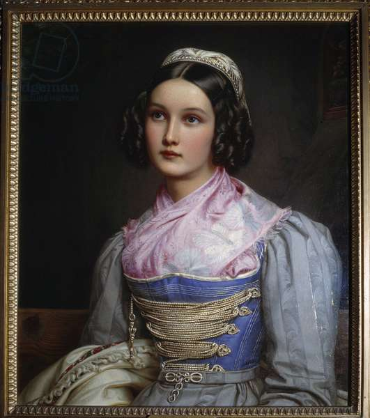 Portrait of Helene Sedlmayer The daughter of a Munich shoemaker, she is dressed in a traditional Bavarian costume. Painting by Joseph Karl Stieler (1781-1858) 19th century Munich. Nymphenburg Castle